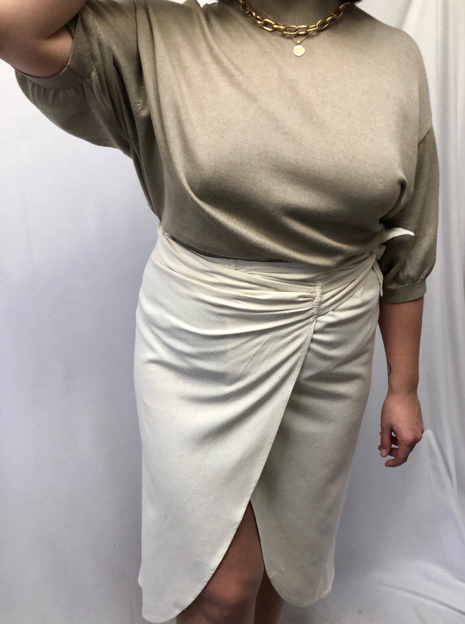 Vintage Taupe Silk Blend Mock Neck Tee