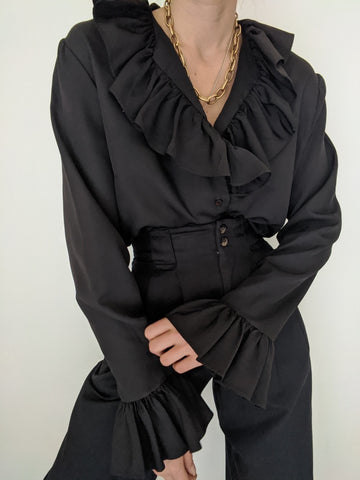 Vintage Onyx Ruffled Collar Blouse