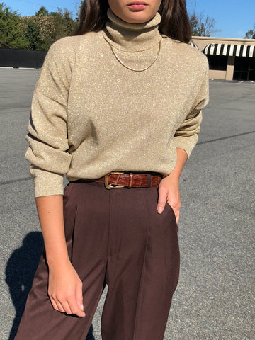 Vintage Sand Sparkle Knit Turtleneck