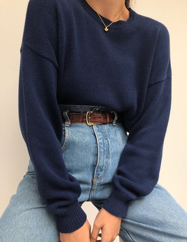 Vintage Navy Knit Cotton Pullover