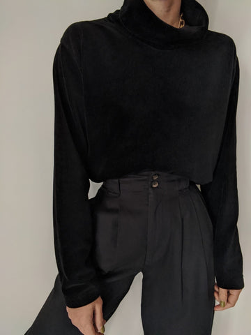Vintage Black Velvet Ribbed Turtleneck