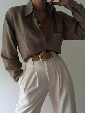 Vintage Taupe Silk Button Up