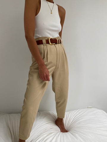 Vintage High Waisted Sand Pleated Trousers