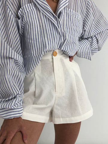 Na Nin Oliver Cotton Linen Shorts / Available in Camel & White