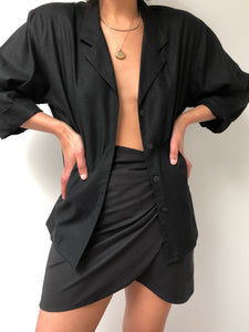 Vintage Onyx Raw Silk Blouse