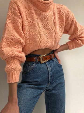 Vintage Peach Knit Mock Neck