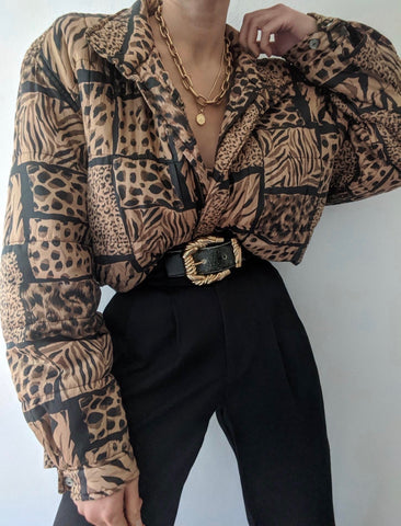 Vintage Animal Print Silk Bomber Jacket