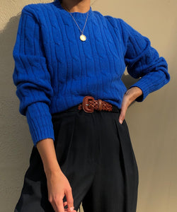Vintage Cobalt Wool Cable Knit Sweater