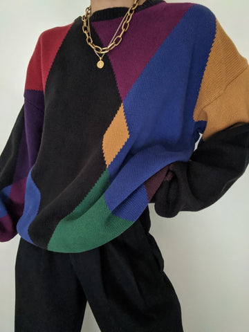 Vintage Colorful Patterned Knit Pullover