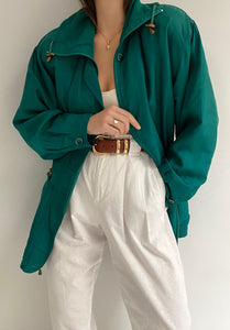 Vintage Teal Silk Zipper Jacket