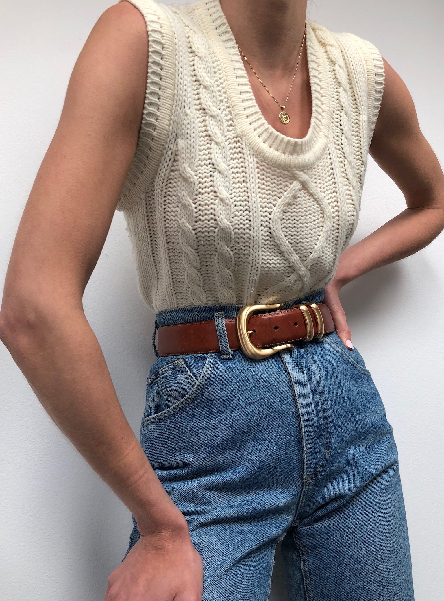 Vintage Cream Patterned Sleeveless Knit