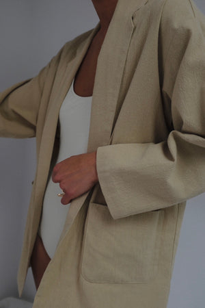 Na Nin Charlie Textured Cotton Blazer / Available in Faded Black & Sand