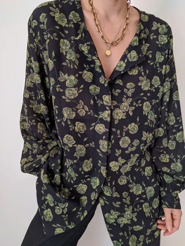 Vintage Sheer Floral Tunic Blouse