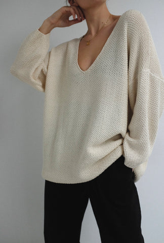 First Rite Low V Sweater / Available in Natural & Clay