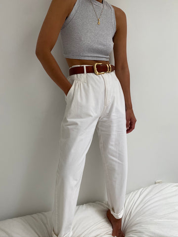 Vintage Classic Cotton High Waisted Trousers