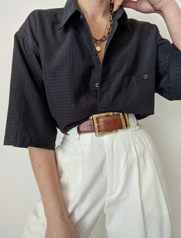 Vintage Navy Grid Button Up