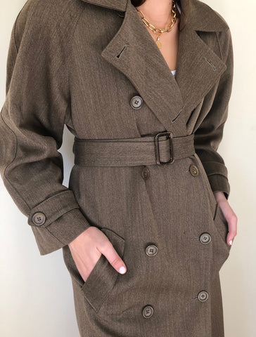 Vintage Olive Belted Trench Coat / Vintage Classic Leather Coach Belt