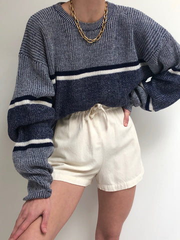 Vintage Heathered Wide Stripe Pullover