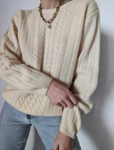 Vintage Cream Cable Knit Wool Sweater