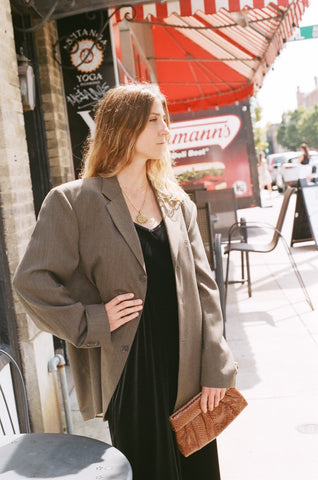 Vintage Cocoa Micro Patterned Blazer