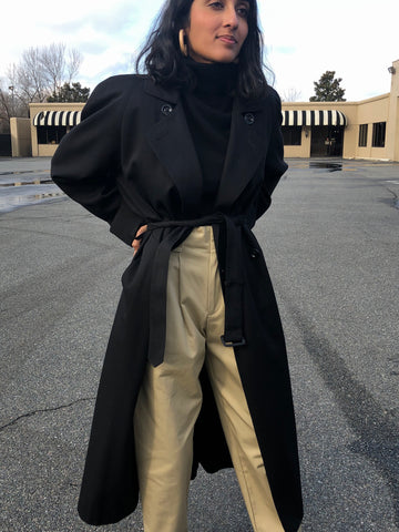 Vintage Classic Black Trench Coat