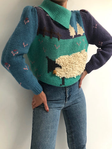 Vintage Favorite Hand Knit Patterned Wool Sweater