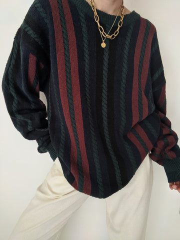 Vintage Stunning Cable-Knit Silk Pullover