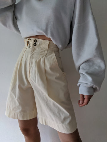 Vintage Peach Pleated Shorts