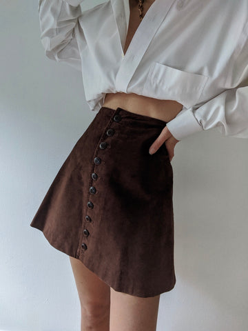 Vintage Cocoa Suede Mini Skirt