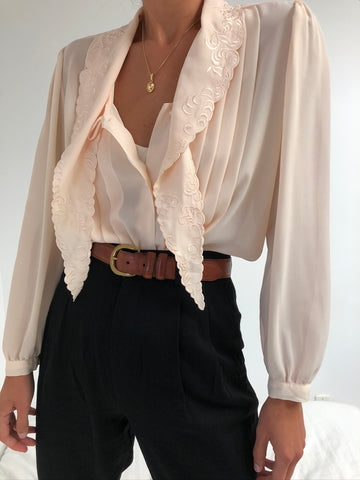 Vintage Peach Pleated Blouse