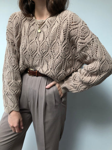 Vintage Open Knit Taupe Sweater