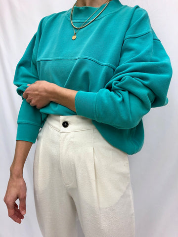 Vintage Teal Waffled Cotton Mock Neck
