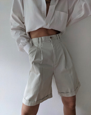Vintage High Waist Pleated Khaki Shorts