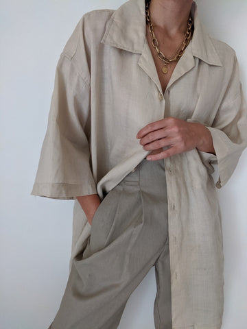 Vintage Ecru Linen Button Up