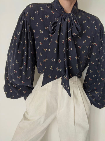 Vintage Terrier Silk Balloon Sleeve Blouse