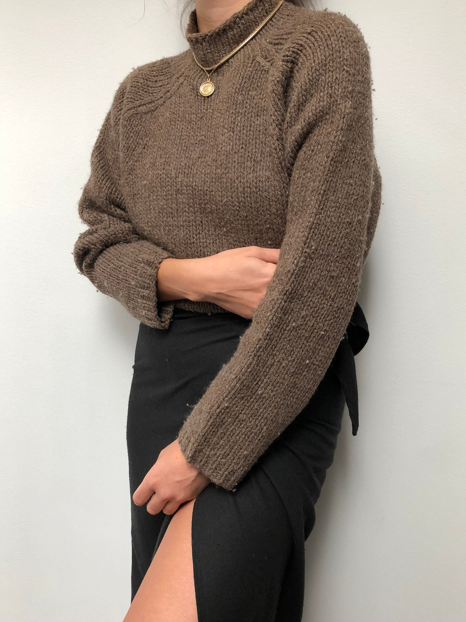 Vintage Cocoa Wool Knit Mock Neck