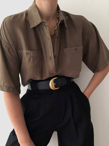 Vintage Cocoa Short Sleeve Silk Button Up