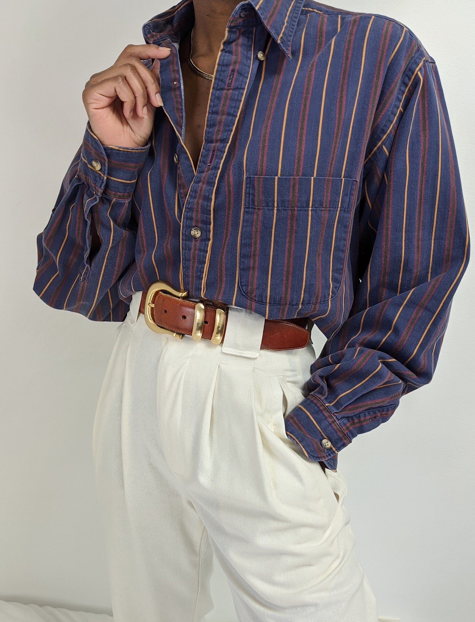 Vintage Striped Cotton Collared Button up