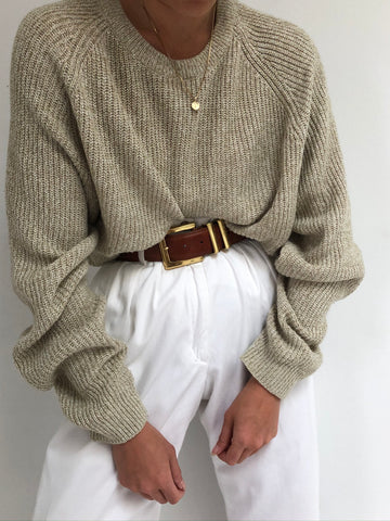 Vintage Oat Raglan Knit Sweater