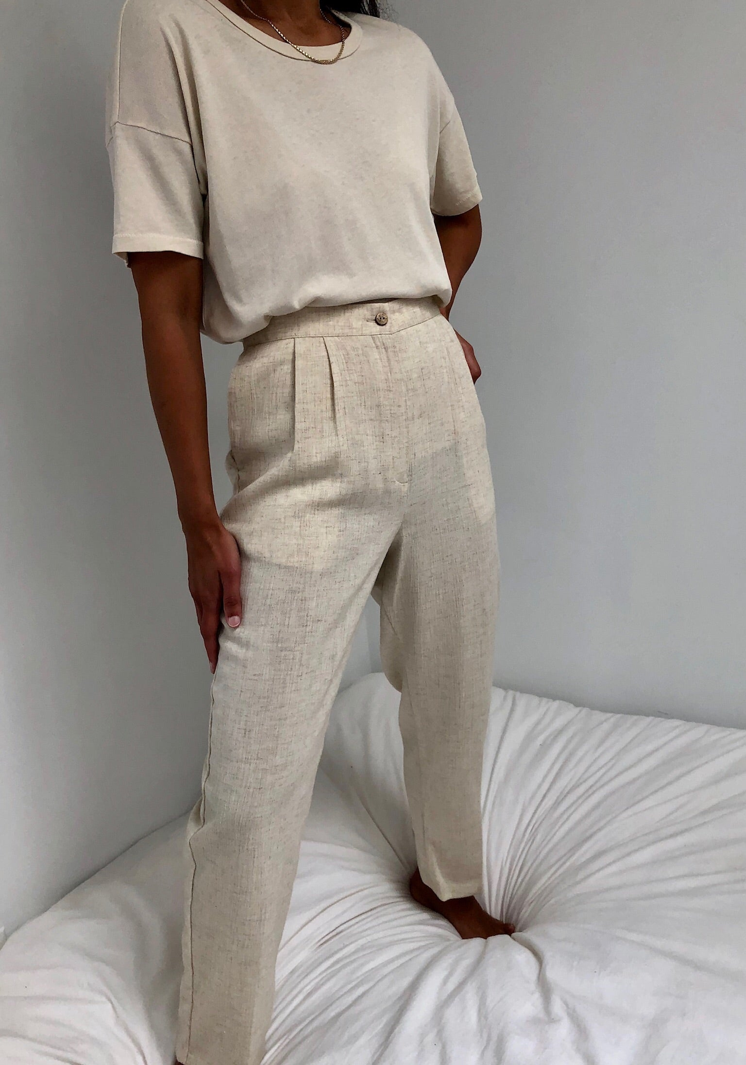 Vintage Oat Rayon Blend Easy Trousers