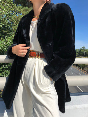 Vintage Onyx Faux Fur Coat