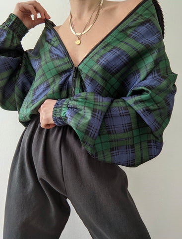 Vintage Plaid Silk Bomber Jacket