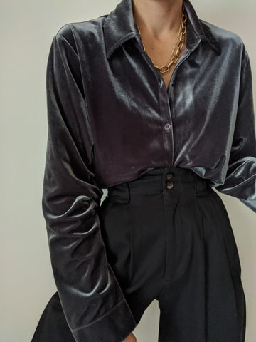 Vintage Gunpowder Velvet Button Up