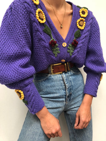 Vintage Favorite Wool Appliqué Cardigan