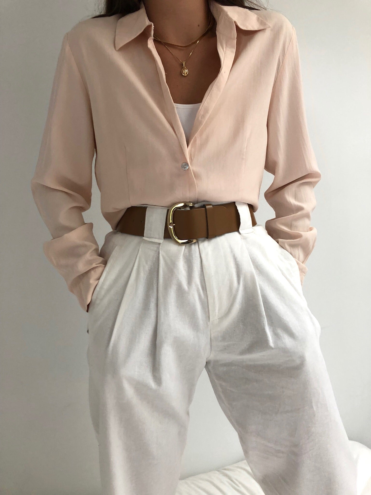 Vintage Blush Silk Button Up