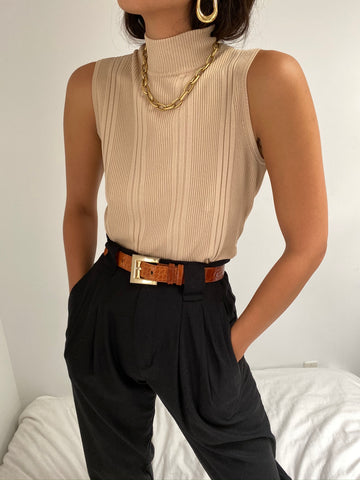 Vintage Sand Sleeveless Mock Neck