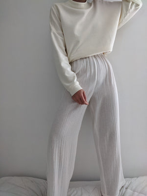 Na Nin Patricia Waffled Cotton Pant / Available in White and Faded Black