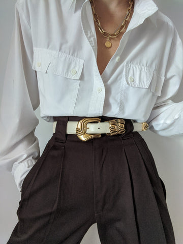 Vintage Cream Leather Gold Buckle Belt