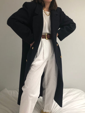 Vintage Midnight Wool Double Breasted Coat
