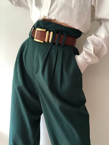 Vintage Stunning Forest High Waisted Trousers